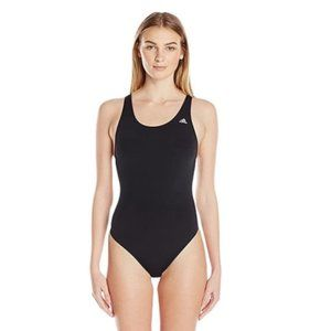 NWT Adidas Solid V-Back One Piece Swimsuit Black